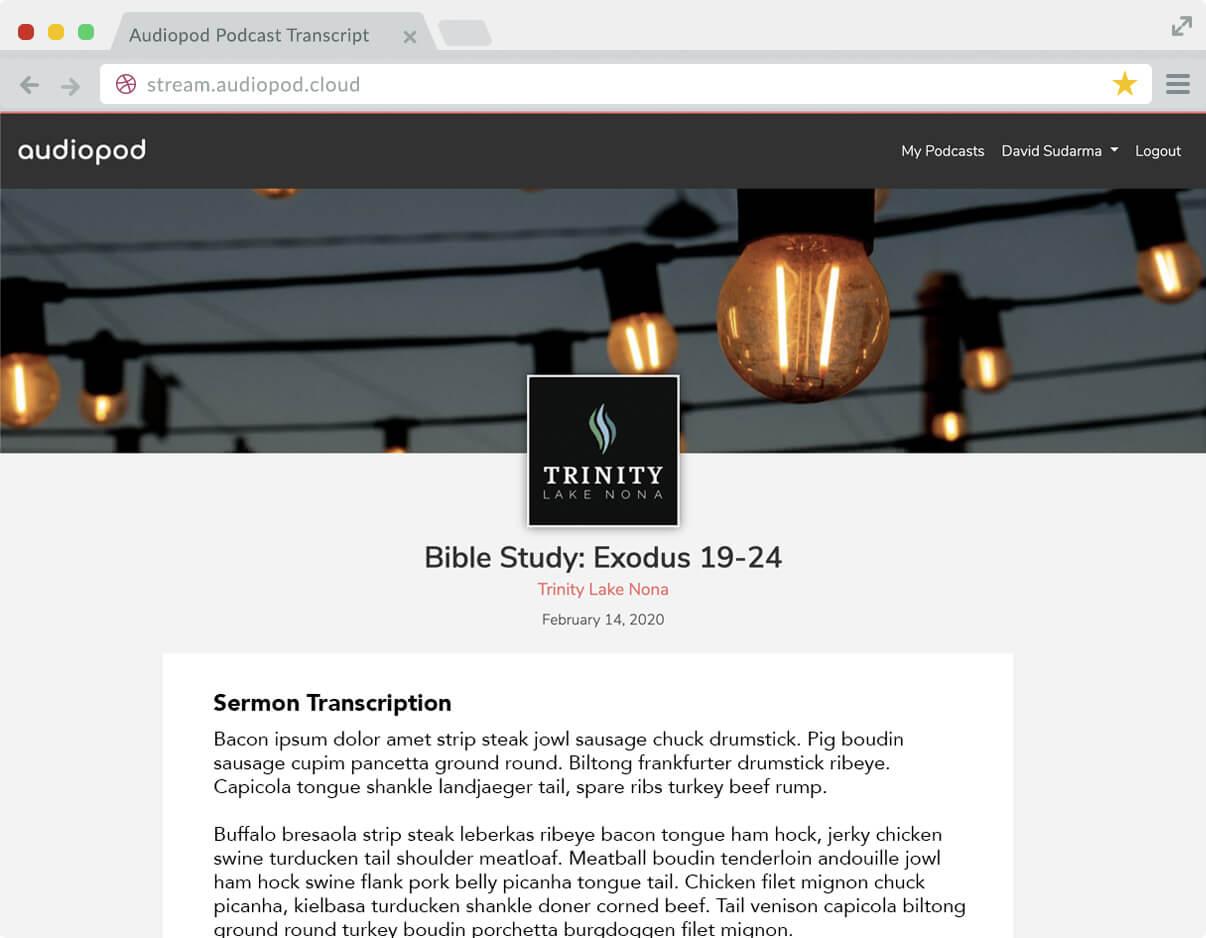 Church podcast hosting transcriptions